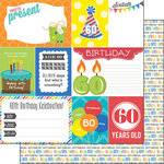 Scrapbook Customs - Happy Birthday Collection - 12 x 12 Double Sided Paper - 60th Birthday