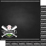 Scrapbook Customs - Sports Collection - 12 x 12 Double Sided Paper - Chalkboard Sports - Baseball