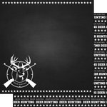 Scrapbook Customs - Sports Collection - 12 x 12 Double Sided Paper - Chalkboard Sports - Deer Hunting