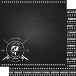 Scrapbook Customs - Sports Collection - 12 x 12 Double Sided Paper - Chalkboard Sports - Fishing