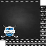 Scrapbook Customs - Sports Collection - 12 x 12 Double Sided Paper - Chalkboard Sports - Hockey