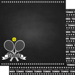Scrapbook Customs - Sports Collection - 12 x 12 Double Sided Paper - Chalkboard Sports - Tennis