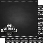 Scrapbook Customs - Sports Collection - 12 x 12 Double Sided Paper - Chalkboard Sports - Wrestling