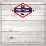 Scrapbook Customs - State Sightseeing Collection - 12 x 12 Paper - Wood - Montana