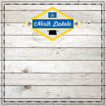 Scrapbook Customs - State Sightseeing Collection - 12 x 12 Paper - Wood - North Dakota