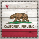 Scrapbook Customs - State Sightseeing Collection - 12 x 12 Paper - Wood Flag - California