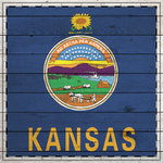 Scrapbook Customs - State Sightseeing Collection - 12 x 12 Paper - Wood Flag - Kansas