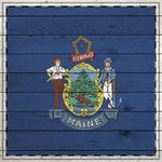 Scrapbook Customs - State Sightseeing Collection - 12 x 12 Paper - Wood Flag - Maine