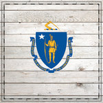 Scrapbook Customs - State Sightseeing Collection - 12 x 12 Paper - Wood Flag - Massachusetts
