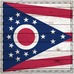 Scrapbook Customs - State Sightseeing Collection - 12 x 12 Paper - Wood Flag - Ohio