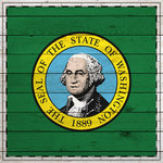 Scrapbook Customs - State Sightseeing Collection - 12 x 12 Paper - Wood Flag - Washington