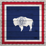 Scrapbook Customs - State Sightseeing Collection - 12 x 12 Paper - Wood Flag - Wyoming