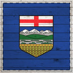 Scrapbook Customs - Canadian Provinces Sightseeing Collection - 12 x 12 Paper - Wood Flag - Alberta