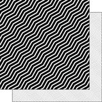 Scrapbook Customs - Black and White Shapes Collection - 12 x 12 Double Sided Paper - Chevron