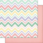 Scrapbook Customs - Baby Girl Collection - 12 x 12 Double Sided Paper - Chevron