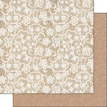 Scrapbook Customs - Burlap and Lace Collection - 12 x 12 Double Sided Paper - Cloth