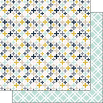 Scrapbook Customs - Navy Mustard Collection - 12 x 12 Double Sided Paper - Flowers