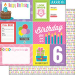 Scrapbook Customs - Birthday Girl Collection - 12 x 12 Double Sided Paper - 6th - Journal