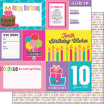 Scrapbook Customs - Birthday Girl Collection - 12 x 12 Double Sided Paper - 10th - Journal