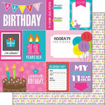 Scrapbook Customs - Birthday Girl Collection - 12 x 12 Double Sided Paper - 11th - Journal