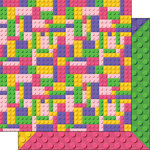 Scrapbook Customs - 12 x 12 Double Sided Paper - Girl Building Blocks - Multi-Color