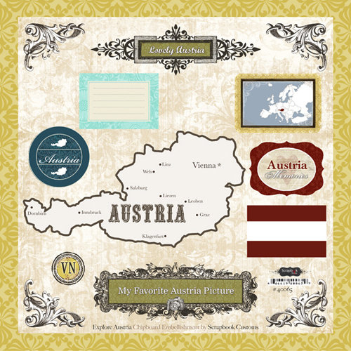 Scrapbook Customs - World Collection - 12 x 12 Laser Cut Chipboard Pieces - Austria