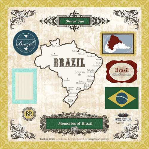 Scrapbook Customs - World Collection - 12 x 12 Laser Cut Chipboard Pieces - Brazil