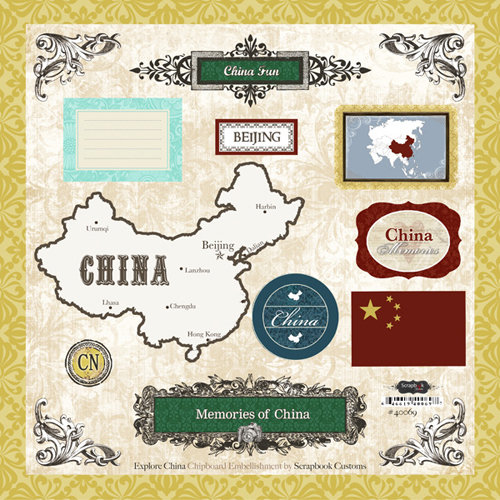 Scrapbook Customs - World Collection - 12 x 12 Laser Cut Chipboard Pieces - China
