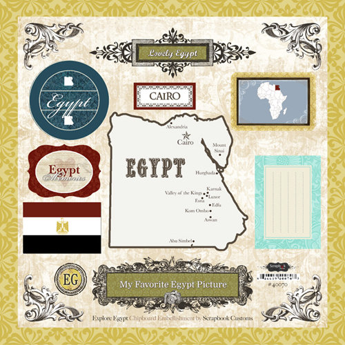 Scrapbook Customs - World Collection - 12 x 12 Laser Cut Chipboard Pieces - Egypt