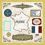Scrapbook Customs - World Collection - 12 x 12 Laser Cut Chipboard Pieces - France