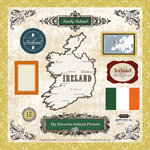 Scrapbook Customs - World Collection - 12 x 12 Laser Cut Chipboard Pieces - Ireland