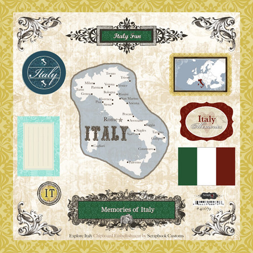 Scrapbook Customs - World Collection - 12 x 12 Laser Cut Chipboard Pieces - Italy