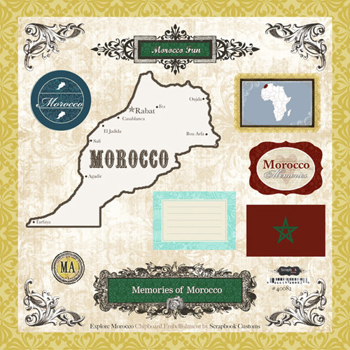 Scrapbook Customs - World Collection - 12 x 12 Laser Cut Chipboard Pieces - Morocco