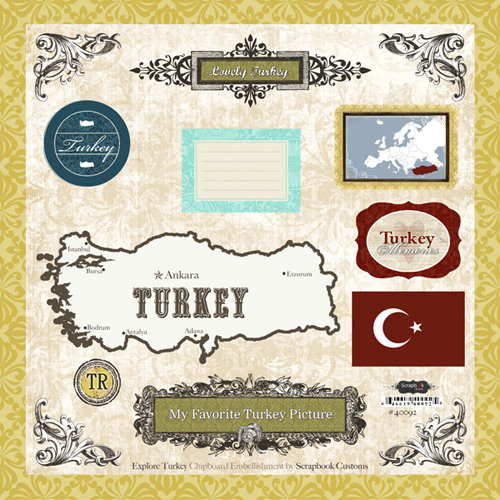 Scrapbook Customs - World Collection - 12 x 12 Laser Cut Chipboard Pieces - Turkey
