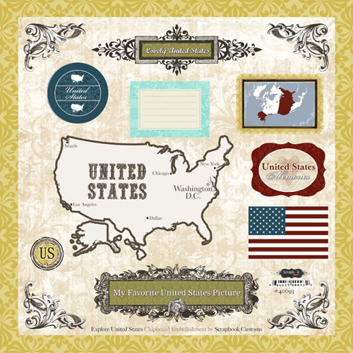 Scrapbook Customs - World Collection - 12 x 12 Laser Cut Chipboard Pieces - USA