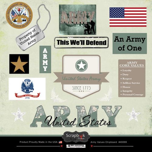 Scrapbook Customs - Military Collection - 12 x 12 Laser Cut Chipboard Pieces - Army Values