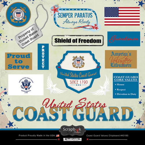 Scrapbook Customs - Military Collection - 12 x 12 Laser Cut Chipboard Pieces - Coast Guard Values