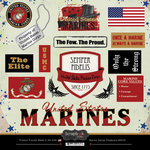 Scrapbook Customs - Military Collection - 12 x 12 Laser Cut Chipboard Pieces - Marine Values
