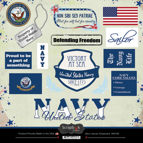 Scrapbook Customs - Military Collection - 12 x 12 Laser Cut Chipboard Pieces - Navy Values