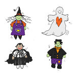 Scrapbook Customs - Rubber Stamp - Halloween Mini's Set 1