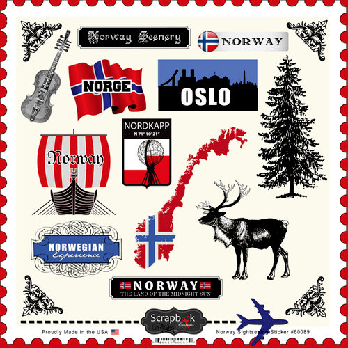 Scrapbook Customs - 12 x 12 Cardstock Stickers - Norway Sightseeing