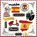 Scrapbook Customs - 12 x 12 Cardstock Stickers - Spain Sightseeing