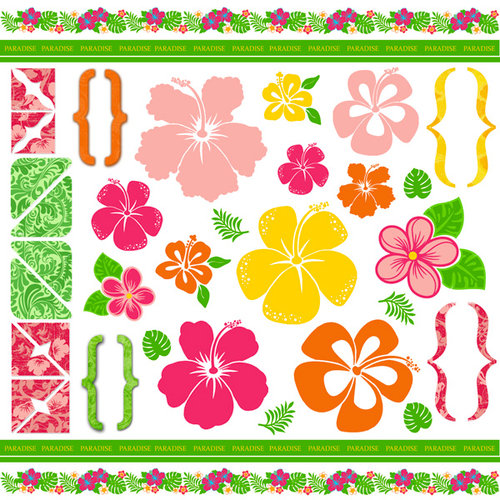 Scrapbook Customs - 12 x 12 Cardstock Stickers - Paradise Vintage