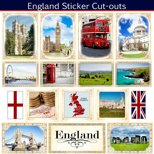 Scrapbook Customs - 12 x 12 Sticker Cut Outs - England Sightseeing