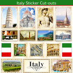 Scrapbook Customs - 12 x 12 Sticker Cut Outs - Italy Sightseeing
