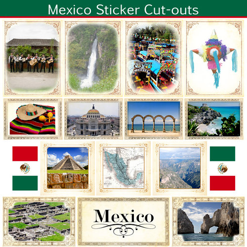 Scrapbook Customs - 12 x 12 Sticker Cut Outs - Mexico Sightseeing