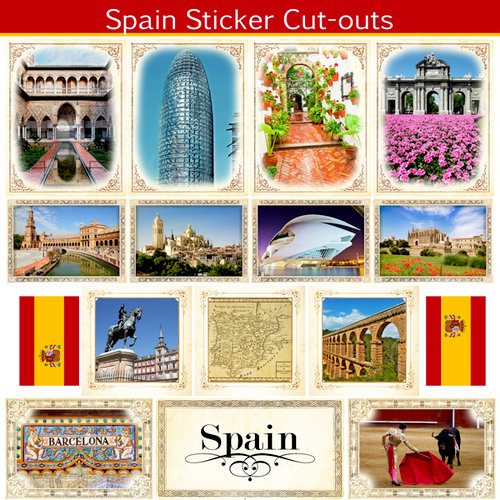 Scrapbook Customs - 12 x 12 Sticker Cut Outs - Spain Sightseeing