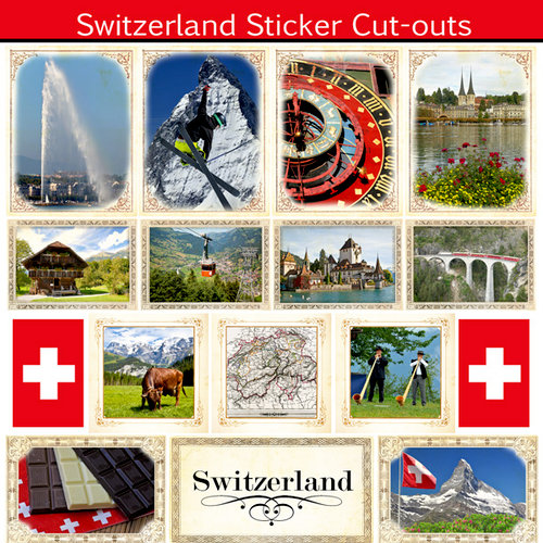 Scrapbook Customs - 12 x 12 Sticker Cut Outs - Switzerland Sightseeing
