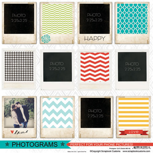 Scrapbook Customs - 12 x 12 Cardstock Stickers - Photograms