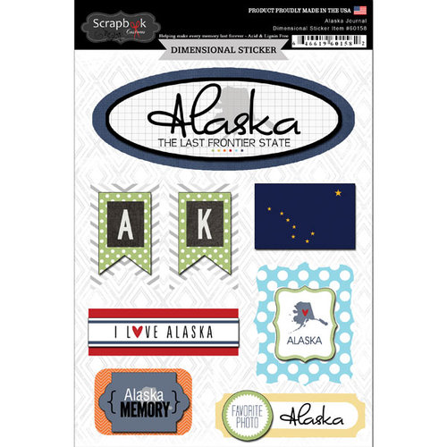 Scrapbook Customs - Travel Photo Journaling Collection - 3 Dimensional Stickers - Alaska